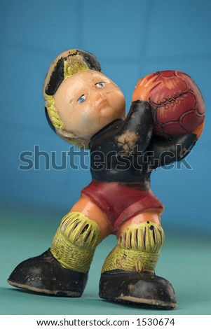vintage toy goalkeeper - stock photo