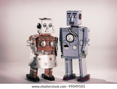 Vintage toy robots male and female