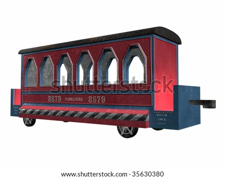 Vintage toy train passenger car illustration low angle view on clean white background