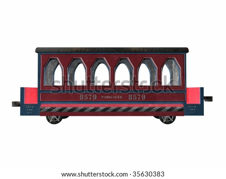 Vintage toy train passenger car illustration side view on clean white background