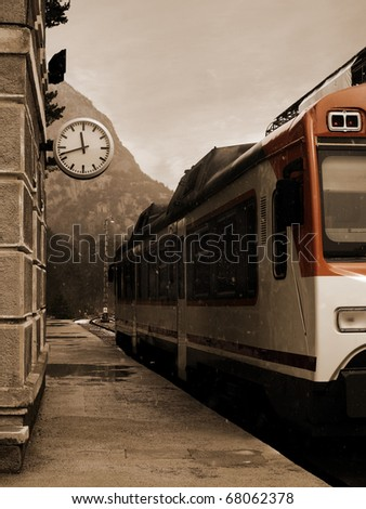 Vintage Train Station in Winter. Photo taken in the famous Canfranc railway station in Huesca, Spain, Huesca