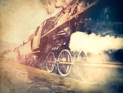 vintage trains with a steam on the move. Photo in old image color style