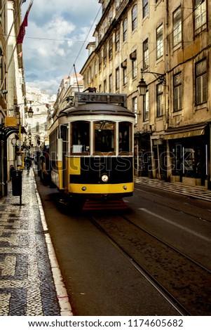 Vintage tram in Lisbon, Portugal #1174605682