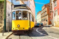 Vintage tram in Lisbon, Portugal in a summer day
