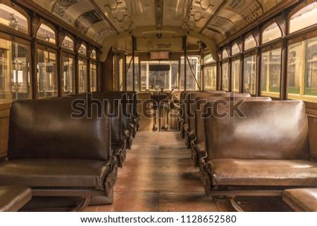 Vintage tram in Melbourne tram museum #1128652580