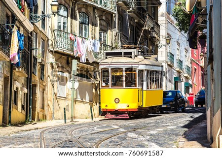 vintage tram in the city center ...
