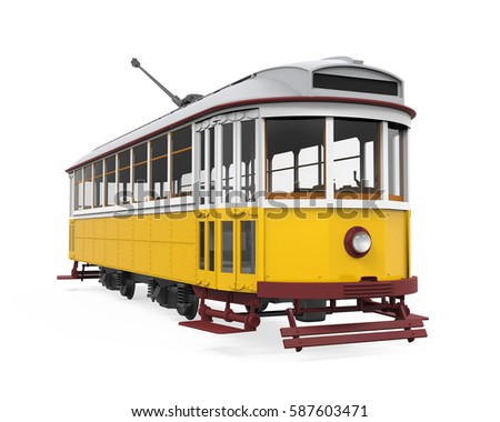 Vintage Tram Isolated. 3D rendering