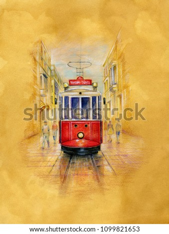Vintage tram  on  Istiklal Street in Istambul. Watercolor illustration on old paper.