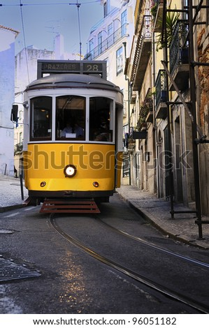 Vintage Trams such as these two are a common site in the Portuguese Capital of Lisbon - Portugal