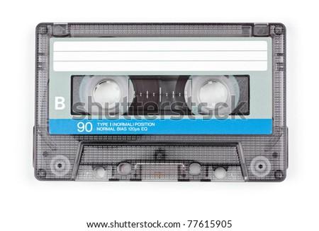Vintage transparent Compact Cassette on white background