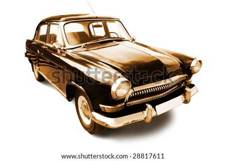 vintage transport. old retro car isolated on white