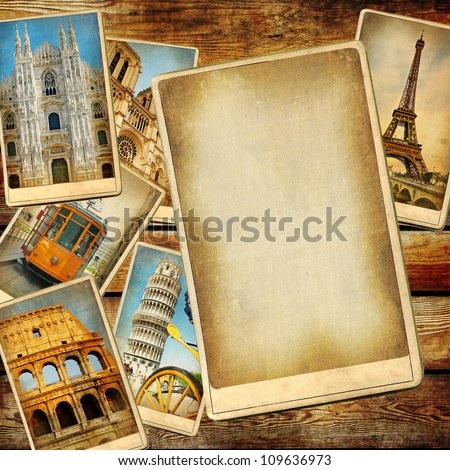 vintage travel background with blank page for text or photo