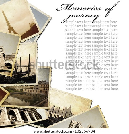 Vintage travel background with old photo