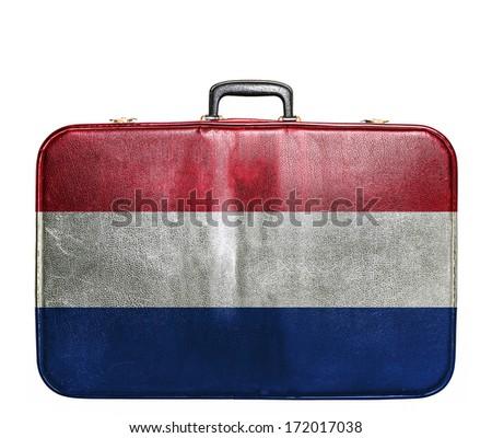 vintage travel bag with flag of ...