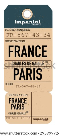 vintage travel ticket to france.