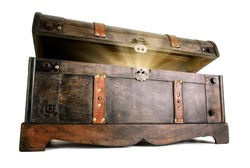 Vintage treasure chest opens to reveal a luminous but hidden secret
