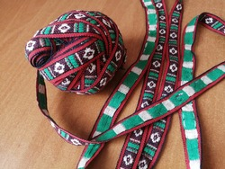 Vintage trim ravel, Red white and green ribbon embroidered, from cotton
