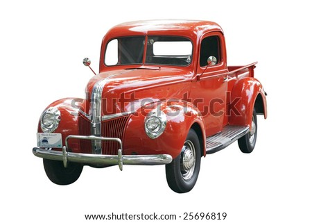 vintage truck with clipping path