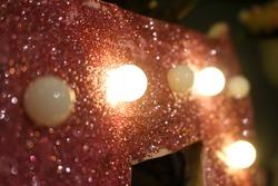 vintage tumblr led lights with pink trinkets motion blur