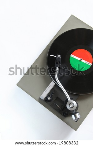 Vintage turntable isolated on a white background