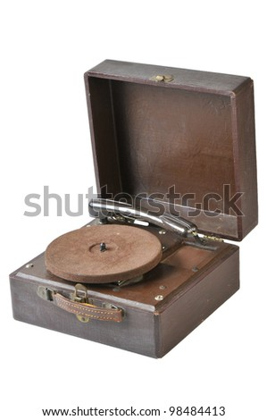 Vintage Turntable isolated on white