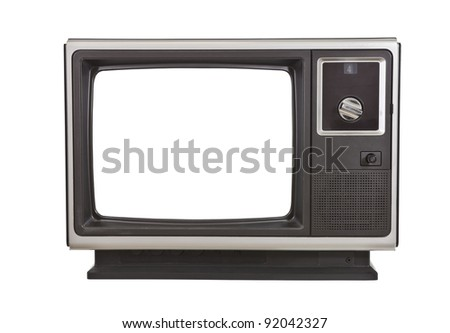 Vintage TV from the 1970's, isolated on white. - stock photo