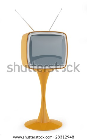 vintage TV from 1960-70. This image contains a clipping path for exact isolation from the background