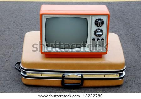 Vintage TV on a suitcase