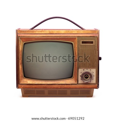 Vintage TV over a white background 2