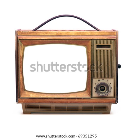 Vintage TV over a white background 1