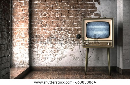 Vintage tv receiver 3d illustration