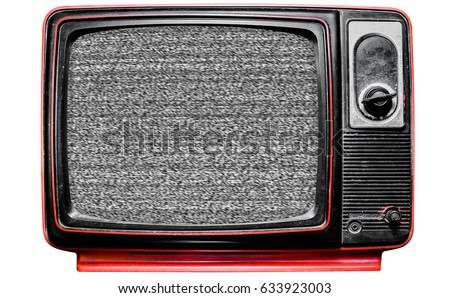 Vintage TV Screen Clipping path, isolated on white background  #633923003