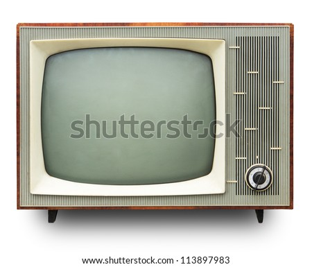 Vintage TV set isolated. Clipping path included. ストックフォト ©
