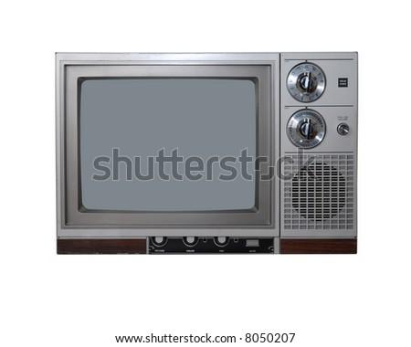 Vintage TV set. Isolated on white.