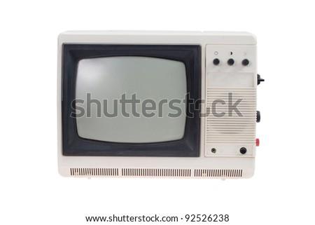 Vintage TV set isolated on white