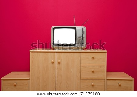 Vintage TV set with blank screen