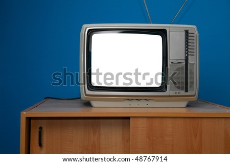 Vintage TV set with blank white screen