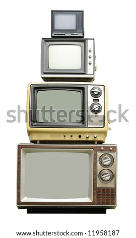 Vintage TV sets - arranged vertically