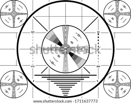 Vintage tv test screen. Black ans white television calibration pattern Foto d'archivio ©