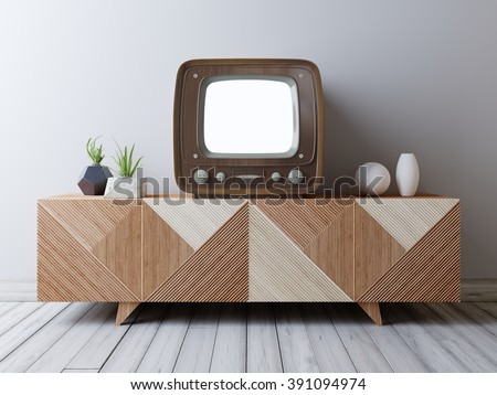 vintage tv with mockup screen...