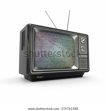 Vintage tv with noise screen on white background. 3d