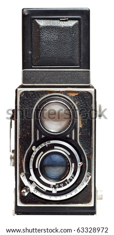 Vintage twin reflex camera isolated on a white background with clipping path