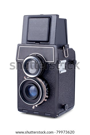 Vintage two lens photo camera isolated on white background