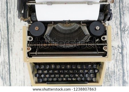 vintage typewrite close up and copy space #1238807863