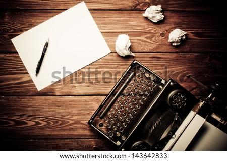 Vintage typewriter and a blank  Vintage Typewriter Paper Photography
