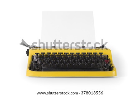 Vintage typewriter in front view - with clipping path
