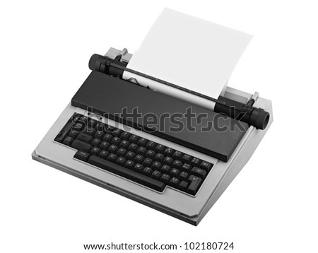Vintage typewriter isolated, clipping path