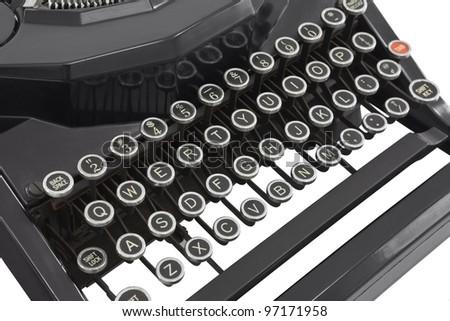 Vintage typewriter keys isolated on white.