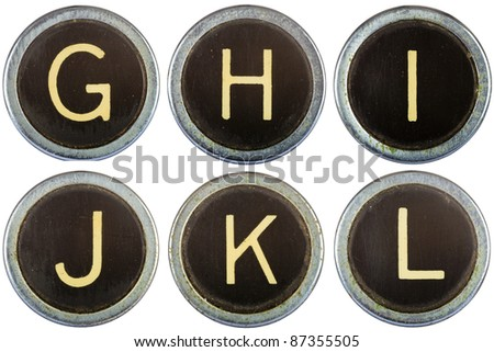 Vintage typewriter letters GHIJKL isolated on white