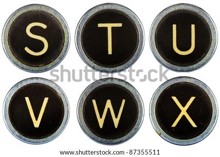 Vintage typewriter letters STUVWX isolated on white